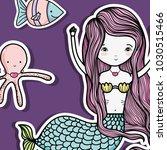 little mermaid art cartoon | Shutterstock .eps vector #1030515466