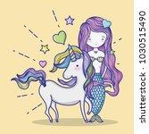 little mermaid with unicorn art ... | Shutterstock .eps vector #1030515490