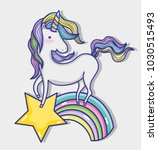 magic and fantastic unicorn... | Shutterstock .eps vector #1030515493