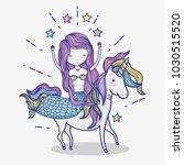 little mermaid with unicorn art ... | Shutterstock .eps vector #1030515520