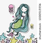 little mermaid art cartoon   Shutterstock .eps vector #1030515556