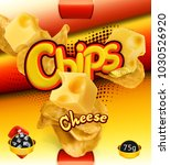 potato chips. cheese flavor.... | Shutterstock .eps vector #1030526920