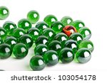 Group Of Green Glass Marbles...