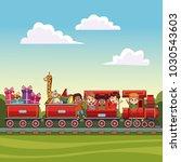 kids on train over landscape | Shutterstock .eps vector #1030543603