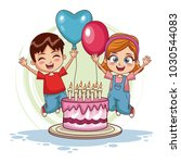 kids jumping on birthday | Shutterstock .eps vector #1030544083