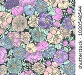 colorful floral seamless vector ... | Shutterstock .eps vector #1030548544