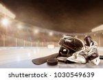 ice hockey helmet  skates ... | Shutterstock . vector #1030549639