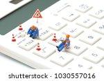 miniature people construction... | Shutterstock . vector #1030557016