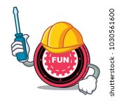 automotive funfair coin mascot... | Shutterstock .eps vector #1030561600