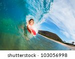 body boarder surfing blue ocean ... | Shutterstock . vector #103056998