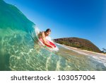 body boarder surfing blue ocean ... | Shutterstock . vector #103057004