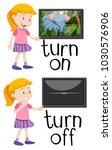 opposite words for turn on and... | Shutterstock .eps vector #1030576906