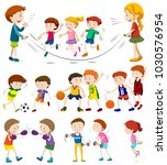 children playing different... | Shutterstock .eps vector #1030576954