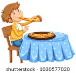 man eating pizza on the table... | Shutterstock .eps vector #1030577020