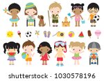 vector illustration of cute... | Shutterstock .eps vector #1030578196
