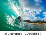 body boarder surfing blue ocean ...   Shutterstock . vector #103058564