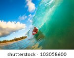 body boarder surfing blue ocean ... | Shutterstock . vector #103058600