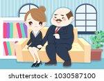 cartoon boss harassing woman in ...   Shutterstock .eps vector #1030587100