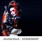 young pretty geisha in kimono | Shutterstock . vector #1030606069