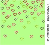 multicolored hearts on a green... | Shutterstock .eps vector #1030608274