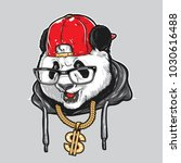 cool panda wearing glasses  hat ... | Shutterstock .eps vector #1030616488