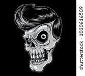 skull with rockabilly hair... | Shutterstock .eps vector #1030616509