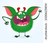 angry cartoon green monster.... | Shutterstock .eps vector #1030625854