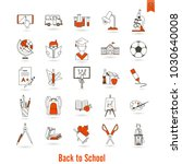 school and education icon set.... | Shutterstock .eps vector #1030640008