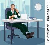 happy employee has breakfast... | Shutterstock .eps vector #1030653700