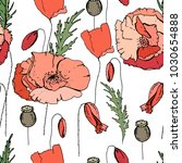 seamless pattern with poppy.... | Shutterstock .eps vector #1030654888