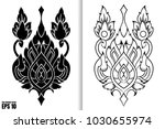 thai painting style vector... | Shutterstock .eps vector #1030655974