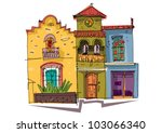 mexico city facade   cartoon | Shutterstock .eps vector #103066340