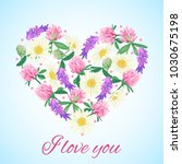 romantic card with floral heart.... | Shutterstock .eps vector #1030675198