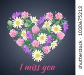miss you card with floral heart.... | Shutterstock .eps vector #1030675213