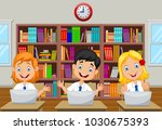 cartoon kids study with... | Shutterstock .eps vector #1030675393