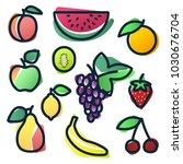 vector color fruits watercolor... | Shutterstock .eps vector #1030676704