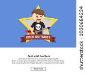 guitarist emblem job information   Shutterstock .eps vector #1030684234