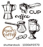 hand drawn doodle coffee set.... | Shutterstock .eps vector #1030693570