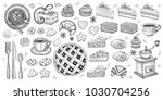 bakery pastry sweets desserts... | Shutterstock .eps vector #1030704256