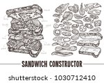 hand drawn monochrome vector... | Shutterstock .eps vector #1030712410
