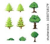 pixel art trees set.8 bit art...   Shutterstock .eps vector #1030718179