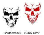 smiling skull in black and red...