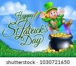 happy st patricks day... | Shutterstock .eps vector #1030721650