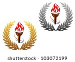 flaming torch in golden and...   Shutterstock .eps vector #103072199