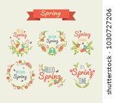 set of vintage spring... | Shutterstock .eps vector #1030727206