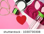 gym stuff and red heart on...   Shutterstock . vector #1030730308