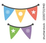 a flat design colorful bunting ...