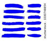 set of hand painted blue brush... | Shutterstock .eps vector #1030748854