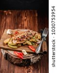 roasted chicken breast with... | Shutterstock . vector #1030753954