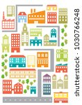 colorful streets. city center ... | Shutterstock .eps vector #1030766248